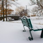 snowy bench on Boston Esplanade